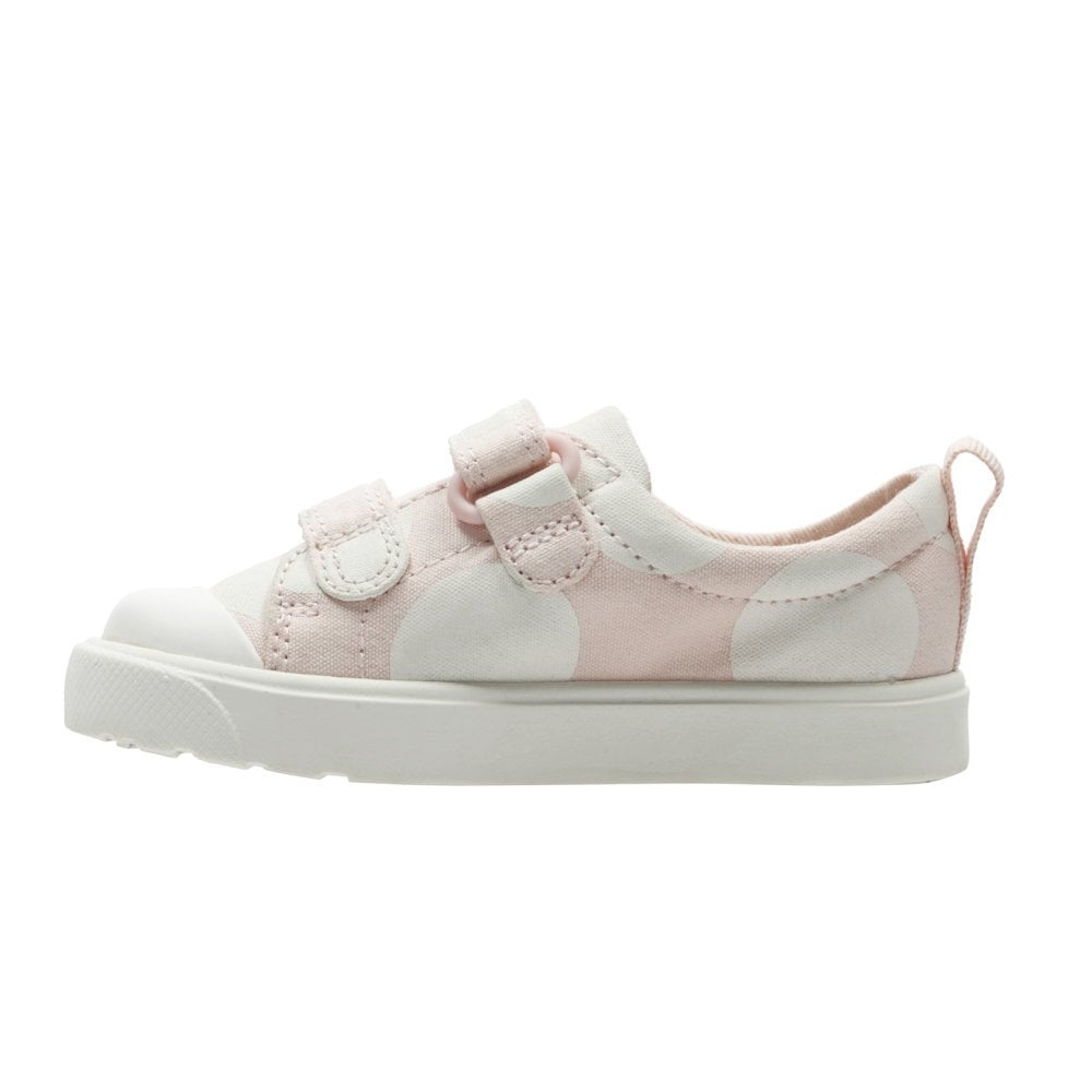 fa38540e0227 ... Clarks Girls City Flare Lo Toddler G Velcro Trainers - Pink Combi ...