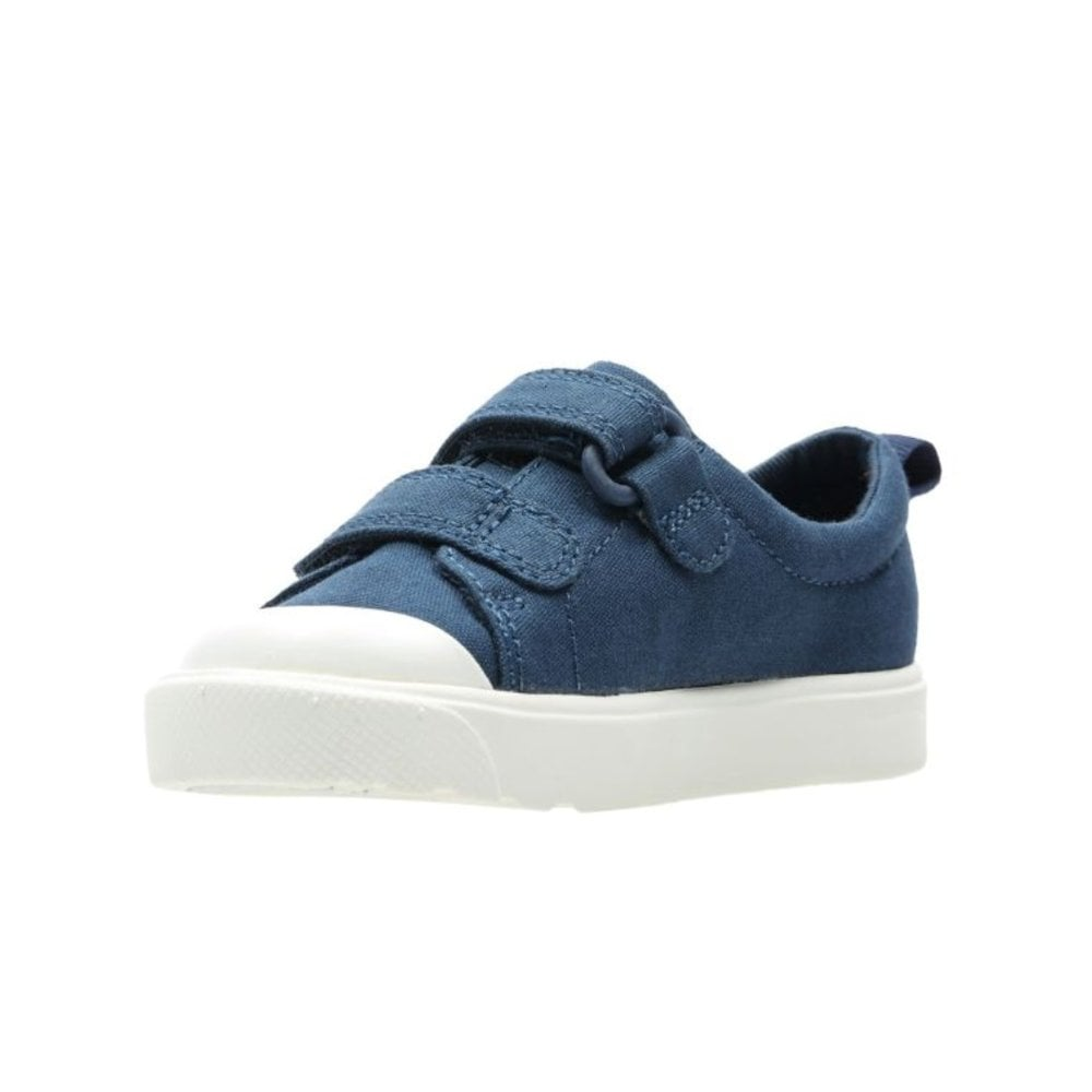 edec6b39b8bd ... Clarks Boys City Flare Lo Toddler G Velcro Trainers - Navy Canvas