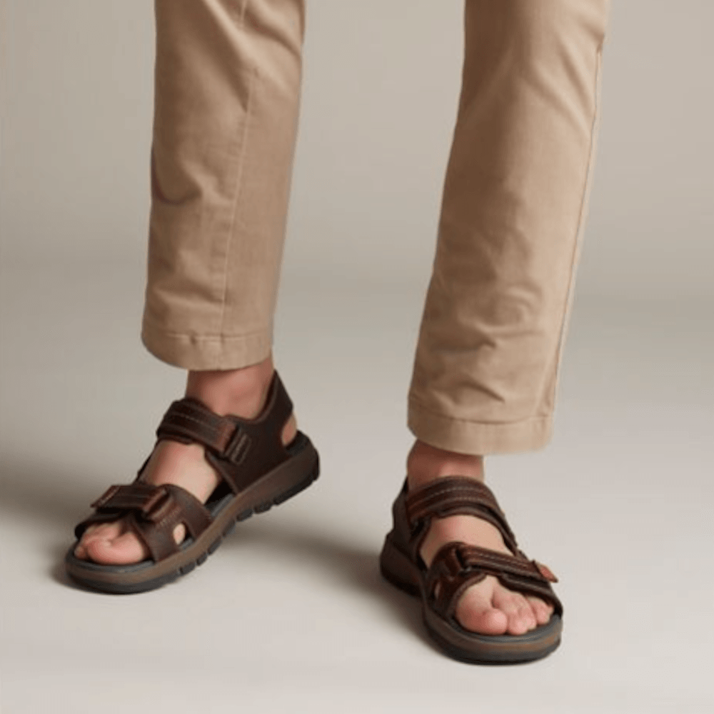 65b504341f24 ... Clarks Brixby Shore Mens Velcro Sandals - Dark Brown Leather ...