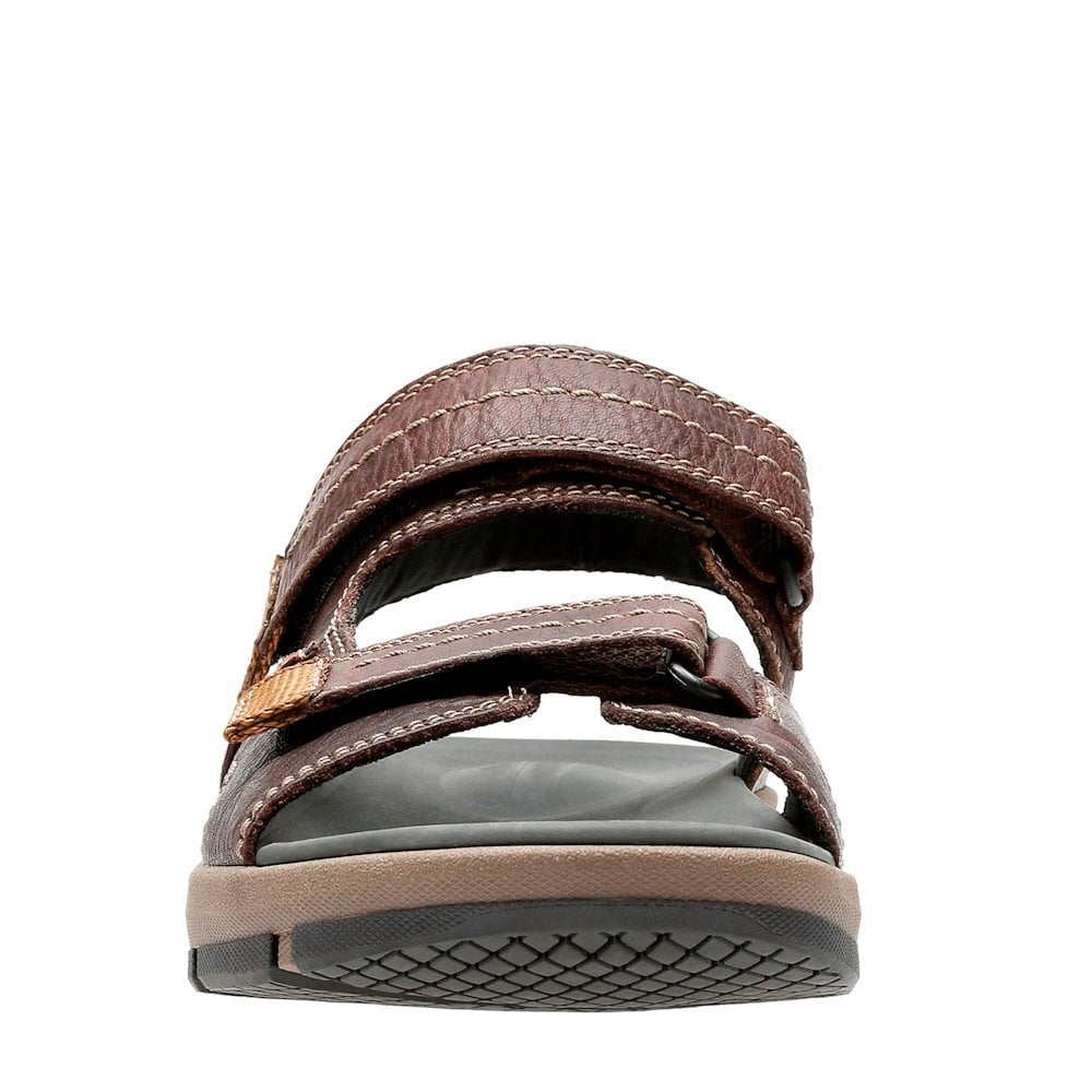 94d52d96c29 ... Clarks Brixby Shore Mens Velcro Sandals - Dark Brown Leather ...