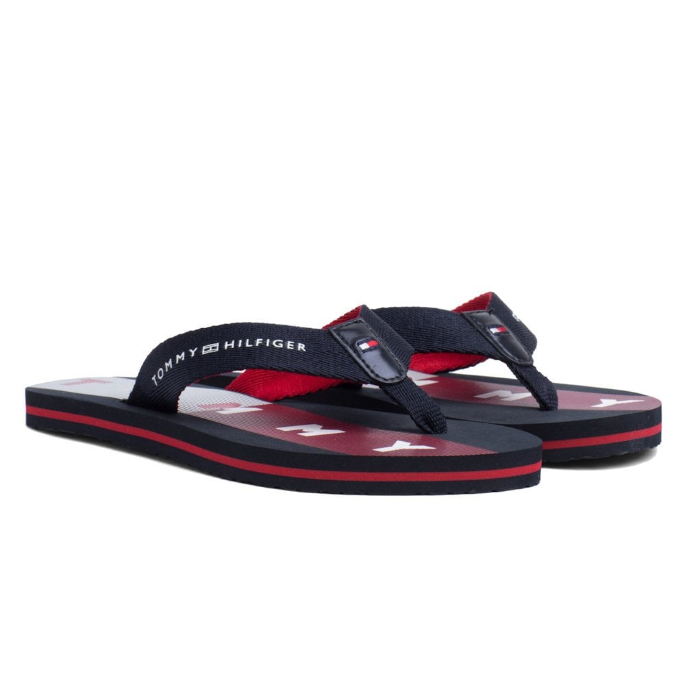5108f5f83d Tommy Hilfiger Flat Flag Print Beach Flip Flops - Navy/Red/White