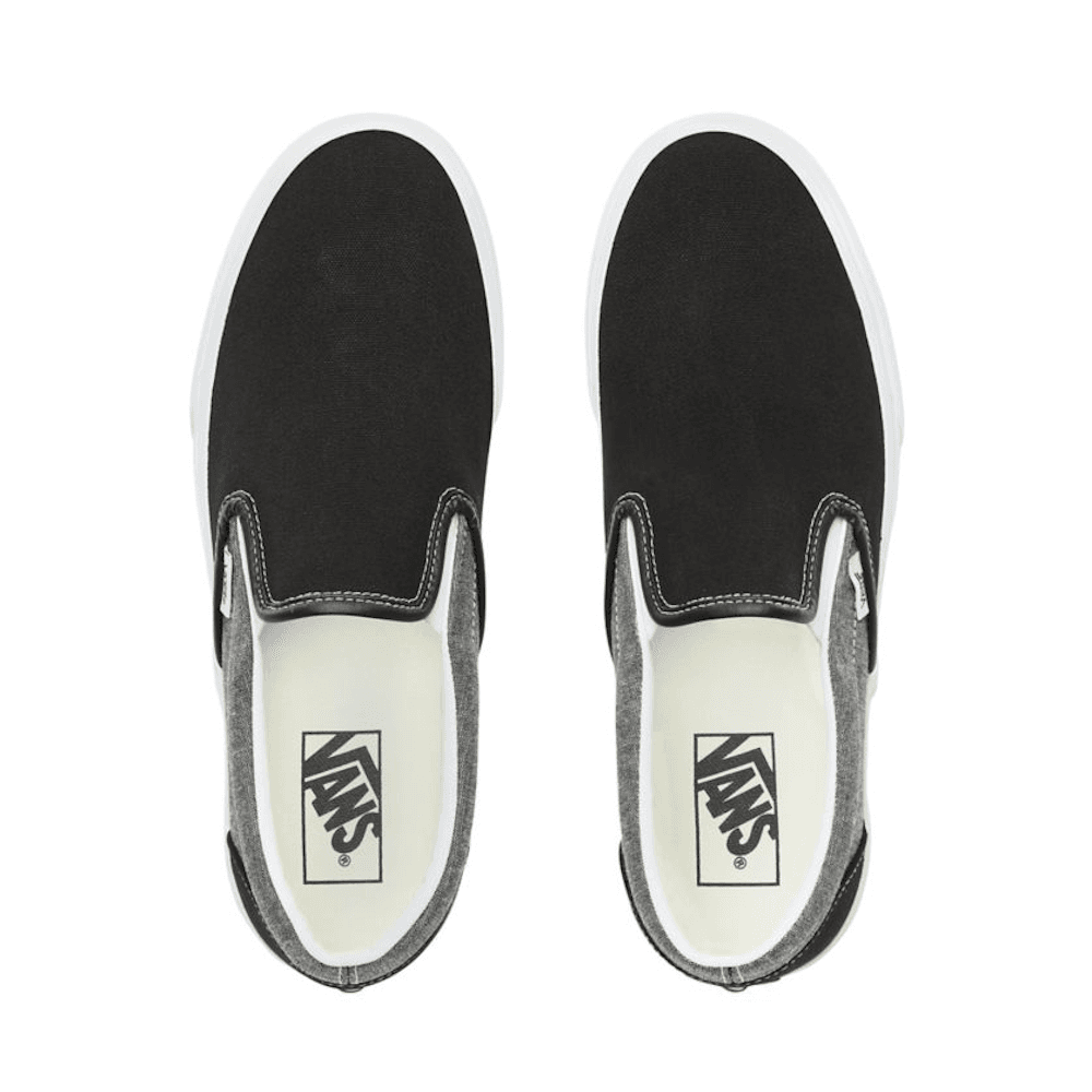 05ea9a38 Vans Unisex Chambray Classic Slip-On Shoes - Canvas Black/True White ...