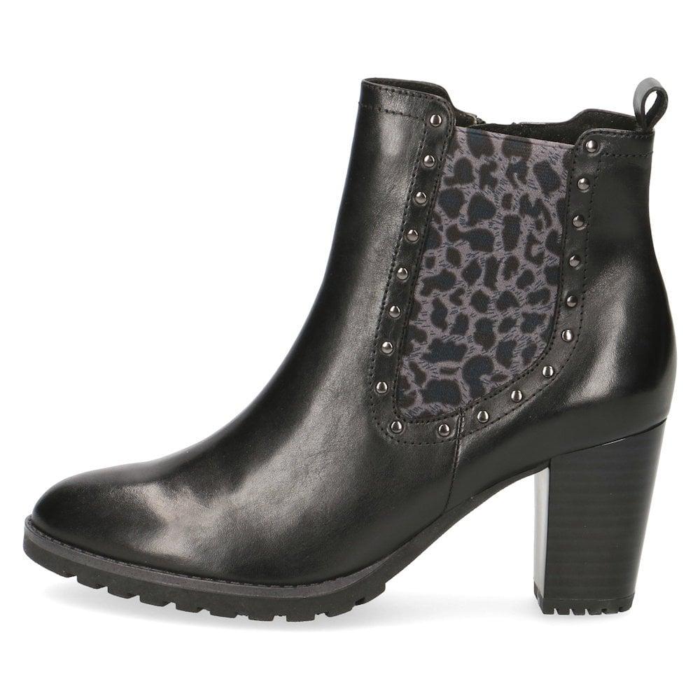 bca32b90 Caprice Leather Block Heeled Ankle Boots - Black Leo Brown / Millars ...