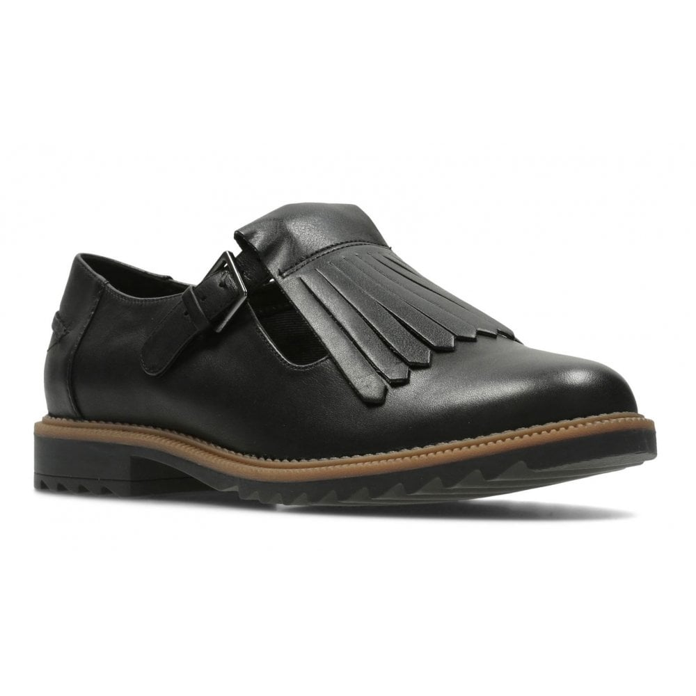 Clarks Womens Griffin Mia Black Leather