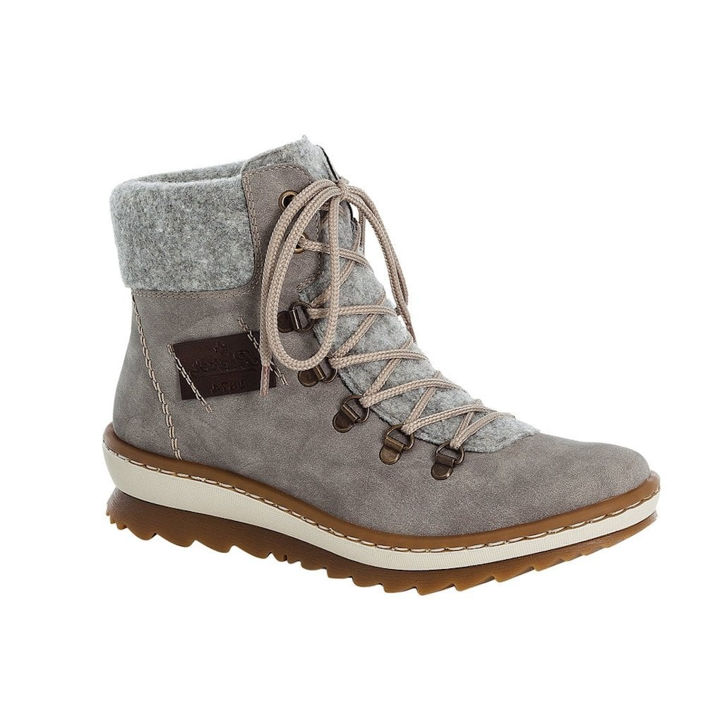 Rieker Grey Lace Up Ankle Boots
