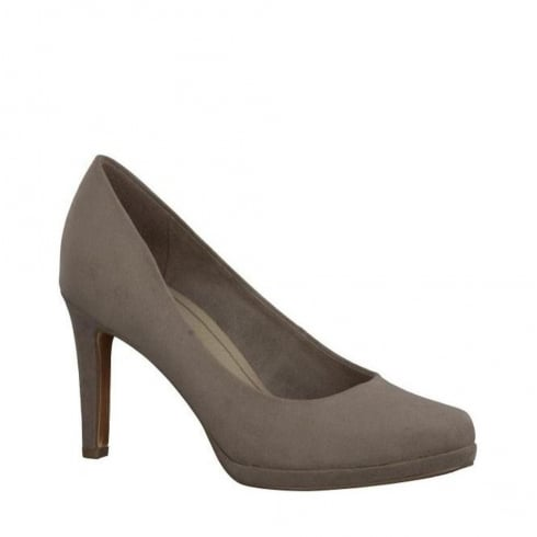 Marco Tozzi Court Heels - Taupe Suede