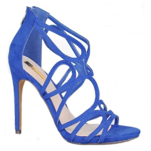 Glamour Womens Glamour High Heel Sude Blue Sandals