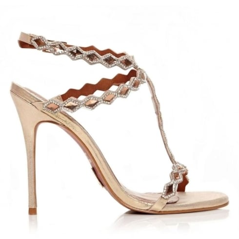 Moda In Pelle Santona Champagne T-Bar Leather Stiletto Sandals