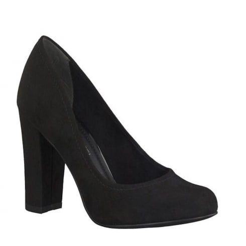 Marco Tozzi Black Suede Court Block High Heels