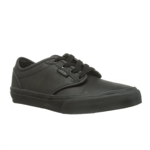 ae86802f64a Vans Kids Atwood Triple Black Leather Youth Shoes - V003Z9KNX