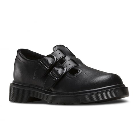 Dr. Martens Dr Martens Junior Black Leather Girls Shoe - 8065