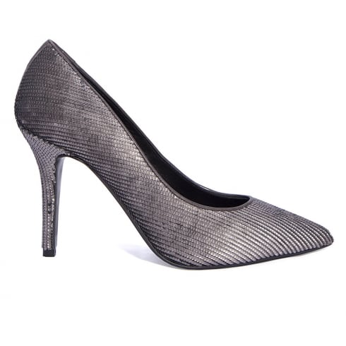 Paco Herrero Can-Can Pewter Sequined Fabric Pointed High Heels