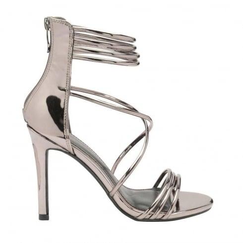 a50921cbc06 Dolcis Ladies Iliana Silver Stiletto Ankle Strap Heeled Sandals