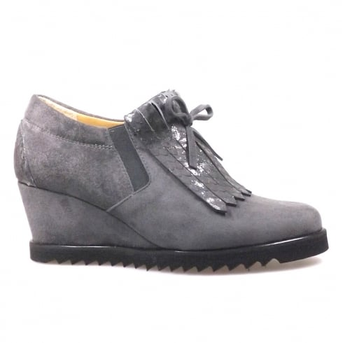 Perlato Dark Grey Suede Wedge Heeled Sneaker Shoe