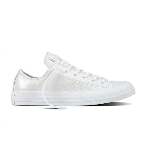 4741b704e9f1 Converse Women s Chack Taylor Ox Leather Low Trainers - White Mono ...