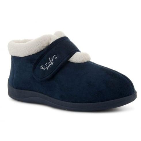 6e62e153bd0 Dunlop Womens Deloris Fleece Lined Wide Fit Velcro Navy Slipper ...