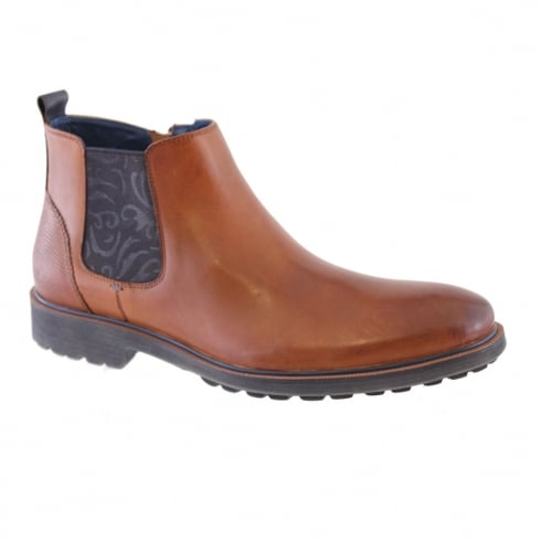 Morgan & Co Men's Tan/Navy Leather Chelsea Boot 0622