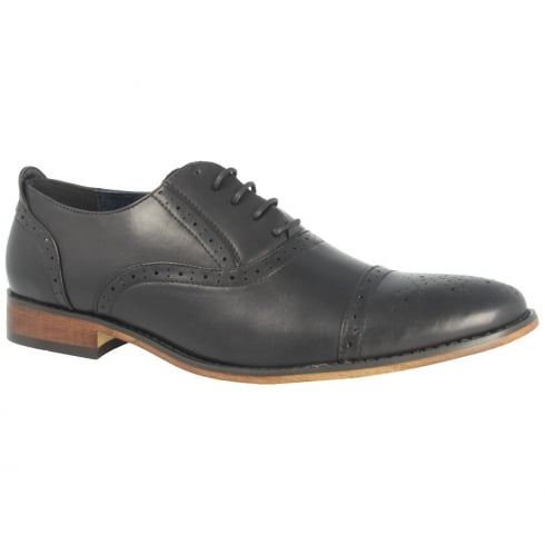 Goor Men's Punched Semi Brogue Style Black Shoes - 172