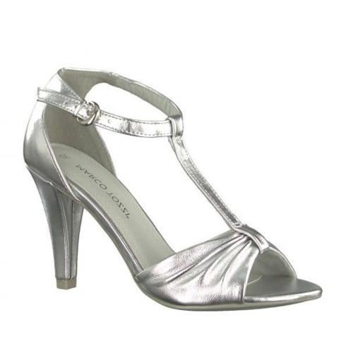 Marco Tozzi Silver Metallic High Heeled Ankle Strap Sandals