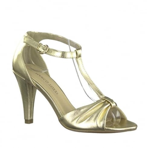 Marco Tozzi Gold Metallic High Heeled Ankle Strap Sandals