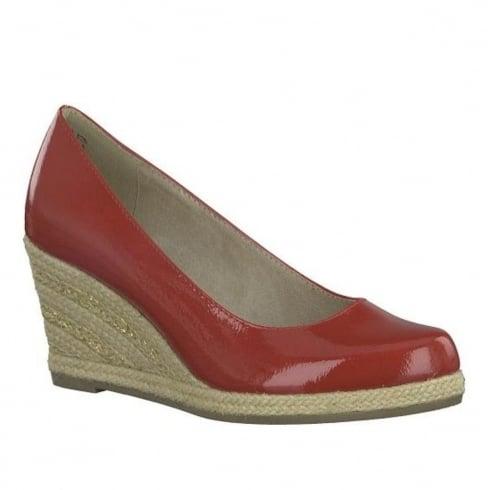 Finden Sie den niedrigsten Preis günstig kaufen Bestbewertete Mode Marco Tozzi Red Patent Espadrille Wedge Heel Pumps 22440-20