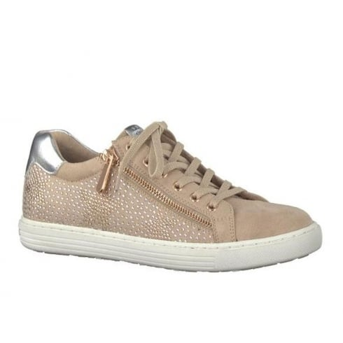 best sneakers 6003a 91b92 Marco Tozzi Rose Lace Up Gold Decoration Zip Sneakers 23735-20