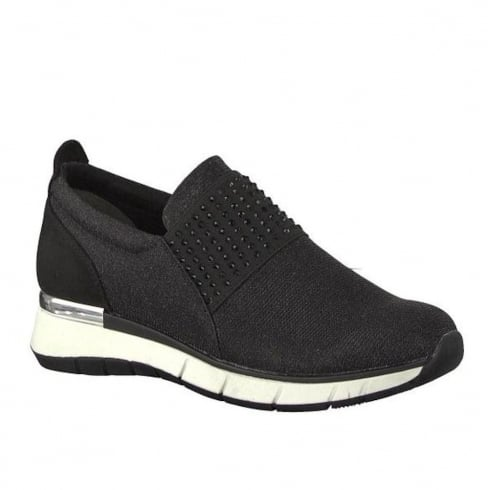 Marco Tozzi Black Elasticated Panel Flat Slip On Sneakers