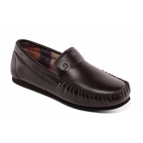 Padders Marino Leather Slipper Brown