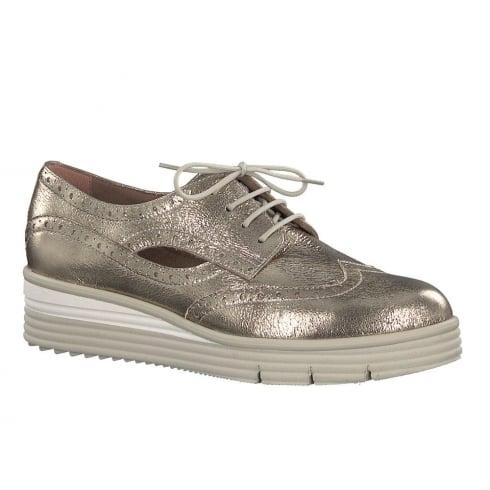92ddd75677d53a Tamaris Womens Light Gold Metallic Wedge Lace Up Brogues 23751-20   Millars  Shoe Store