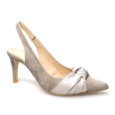 Perlato Taupe Suede Slingback Pointed Bow Court Heels