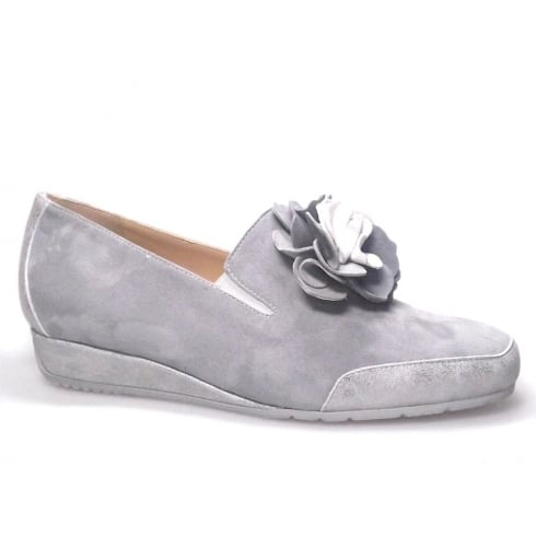 Perlato Grey Suede Low Wedge Pumps