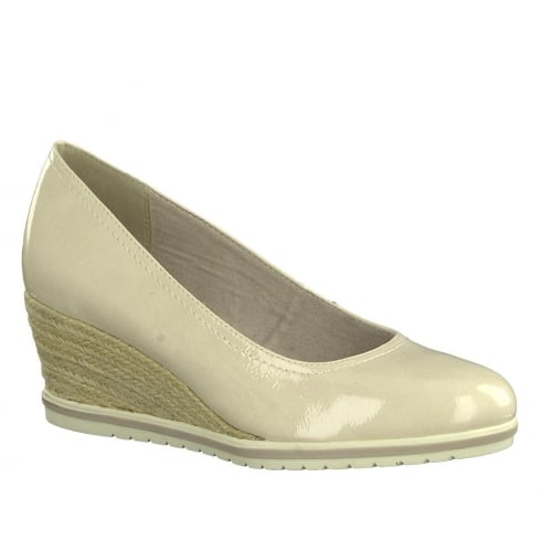 Tamaris Womens Cream Rope Wedge Heeled Pumps