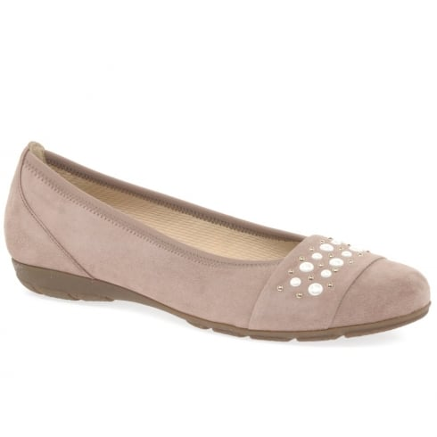 Gabor Electra Ladies Rose Suede Leather Ballet Pumps