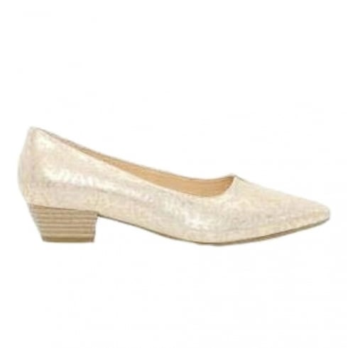 Gabor Acton Elegant Low Heeled Court Pumps - Pale Gold