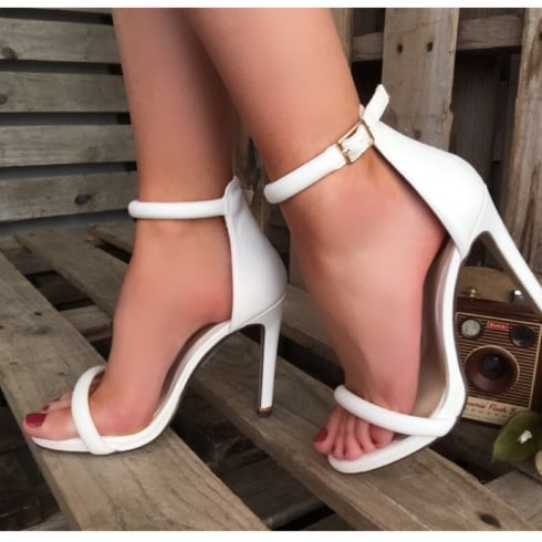 Millie & Co Barely There Heeled Sandal - White