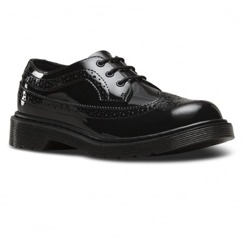 Dr. Martens Dr.Martens Youth Black Patent Lace Up Brogues Shoe - 3989
