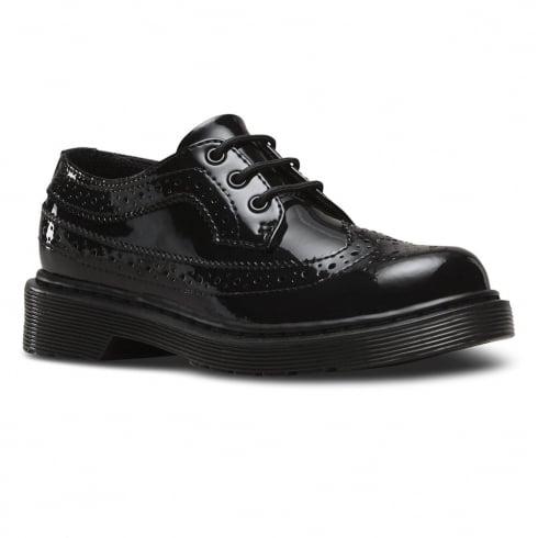 Dr. Martens Dr.Martens Junior Black Patent Lace Up Brogues Shoe - 3989