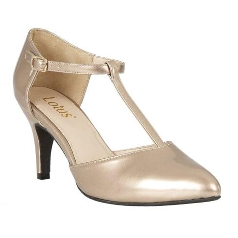 c351533803 Lotus Ladies' Camomile Rose Metallic Patent Mary-Jane Court Shoes / Millars  Shoe Store