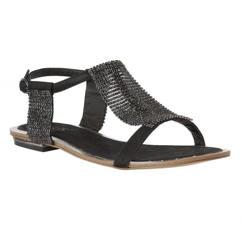 e667928bd21f Lotus Ladies  Agnetha Black Chainmail Flat Sandals   Millars Shoe Store