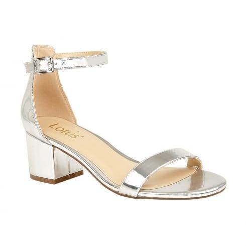94080402f35 Lotus Vitus Silver Strap Low Block Heel Sandals