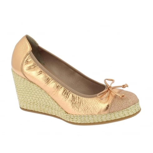 Wonders Rose Gold Metallic Wedge