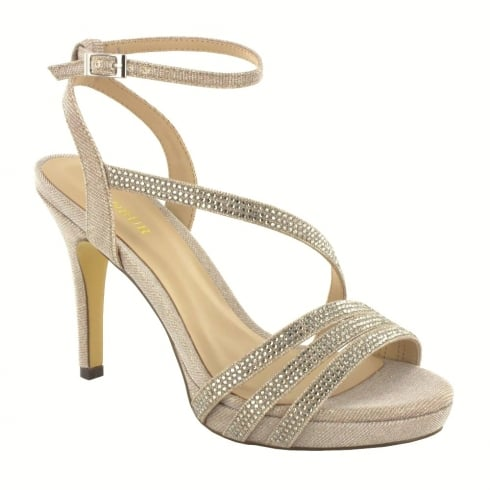 Menbur Aprilia Gold Sparkle Diamond Heeled Sandals