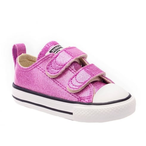 d187948fa28 Converse Kids Chuck Taylor All Star 2V Pink Glitter Velcro Trainers ...