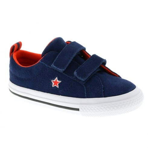 a2927b81a330 Converse Kids One Star 2V Suede Molded Star Trainers - Navy Red 760009C