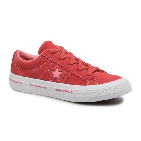 Converse Youth One Star Suede Wordmark Trainers - Paradise Pink