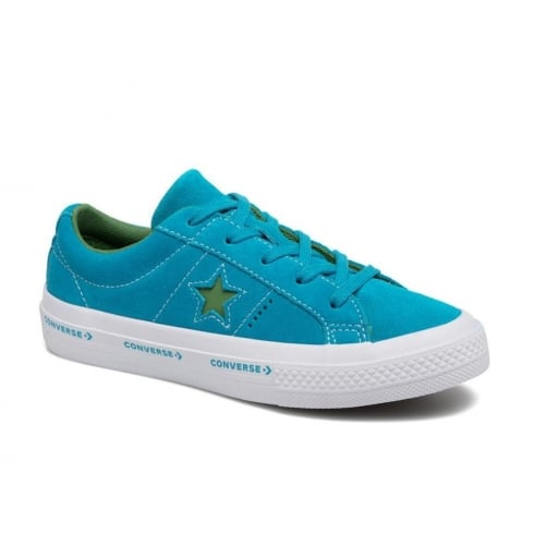 Converse Youth One Star Suede Wordmark Trainers - Blue/Green