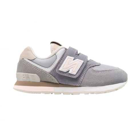 check out b4a08 a704b New Balance Kids 574 Suede Grey/Pink Velcro Trainers