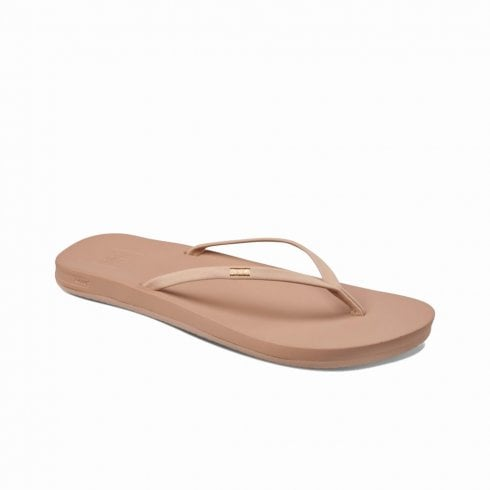 Reef Womens Cushion Bounce Slim Leather Flip Flops Sandals - Nude