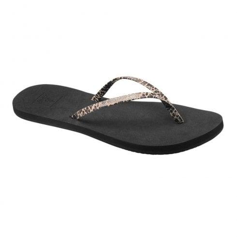 c7a27783eb935 Reef Womens Bliss Prints Cheetah Flip Flops Sandals - Black / Millars Shoe  Store