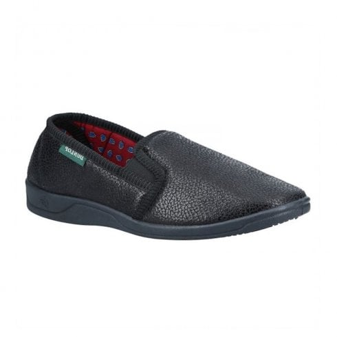 Dunlop Men's Black Leather Look Slippers